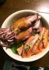 簡単2種盛海鮮丼★鮭鰹鮪鯵等の刺身とイカ