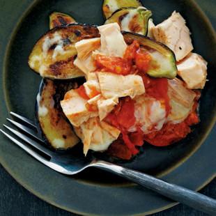 なすとトマトとツナのステーキ