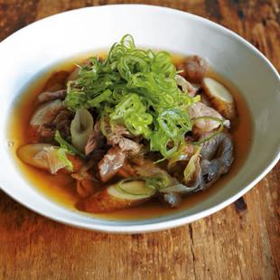 ごぼう、牛肉、長ねぎの和風スープ