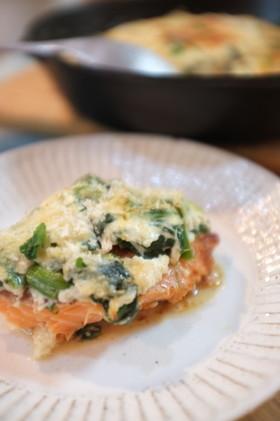 鮭とほうれん草の豆腐クリームグラタン