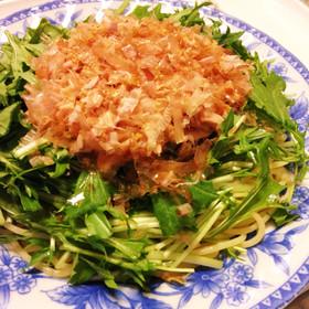 麺茹で以外火を使わないツナと水菜のパスタ