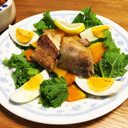 ほっけ干物とわさび菜のサラダ