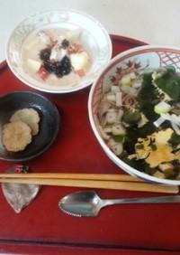 血管ダイエット食655(ワカメ卵そば)