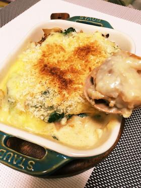 ホタテとほうれん草の豆乳味噌グラタン