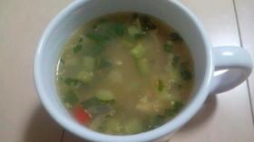 コストコキヌアサラダでスープ