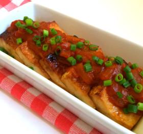 焼き豆腐にチリソース☆海老チリリメイク