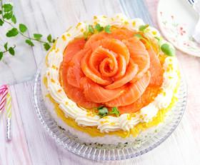 雛祭り♡サーモンのお花でケーキ寿司♡