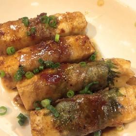 甘辛な木綿豆腐の肉巻き