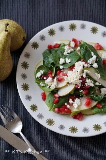 洋梨とほうれん草、ざくろのフェタサラダ