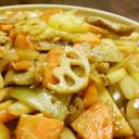 豚ネック入り野菜炒め、カレー味。