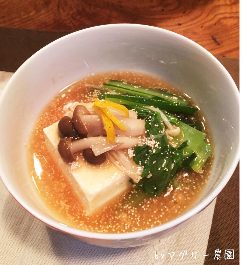簡単上品♪小松菜きのこ明太あんかけ豆腐