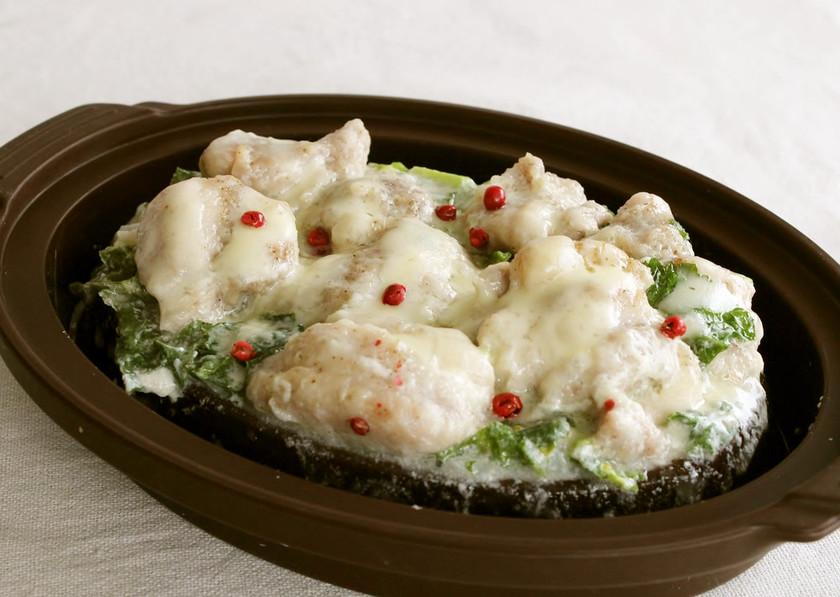レンジで!チキンと菜の花の簡単ドリア風