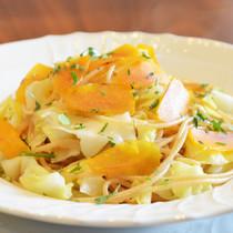 全粒粉のスパゲティー二 春キャベツのペペロンチーノ カラスミ添え