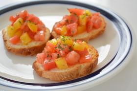 アボカドオイル 彩り野菜のブルスケッタ