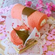 雛祭り♡米粉の桜シフォンロールケーキの写真