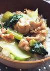 チンゲン菜と豚肉のあんかけごはん♩