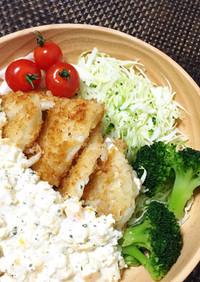 白身魚の揚げ焼きフライタルタルソース添え