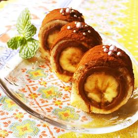 食パンで♪バナナチョコティラミスロール