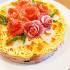 初節句や誕生日に♡お花たっぷり寿司ケーキ