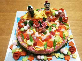 ひな祭り♡簡単!ちらし寿司ケーキ風