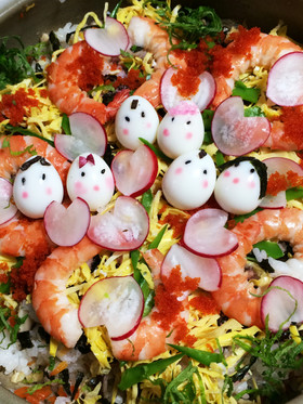ちらし寿司飾りにラディッシュハート