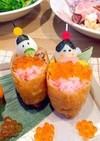 ひな祭り★ピンクご飯でいなり寿司雛♡