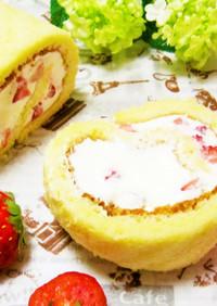 手軽で美味しい♡苺のミルキーロールケーキ