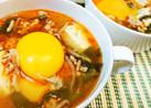 スンドゥブ風ピリ辛スープ(生玉のっけ)