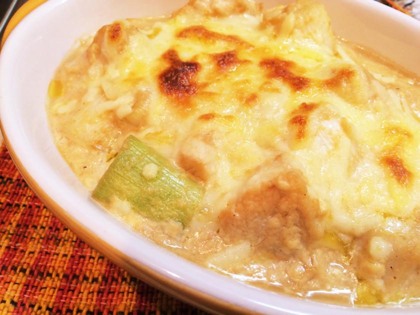 鶏肉とネギの豆腐クリームグラタン♡