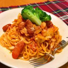 キャベツ&ウインナーの絶品トマトパスタ