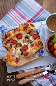 切り餅3枚おひとりさま♡餅ピザの写真
