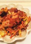 茄子と手羽元のピリ辛トマト炒め