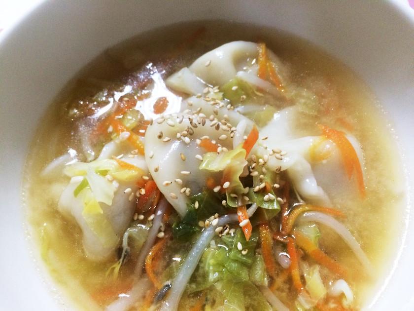 楽ちん簡単!冷凍水餃子で味噌スープ