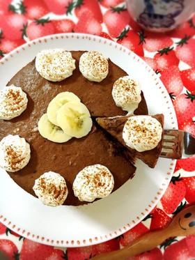 お砂糖なし。バナナココアレアチーズケーキ