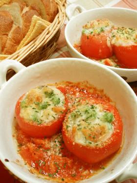 簡単♪ホワイトソースdeトマトファルシー