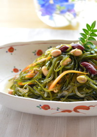 簡単和惣菜♪切り昆布と油揚げ、豆の煮もの