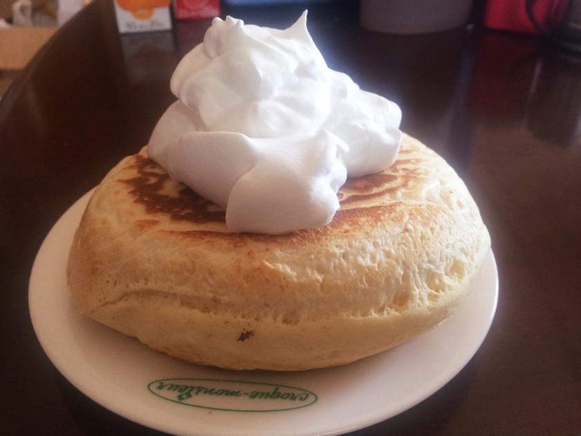 小麦粉・豆乳で厚いフカフカ、ホットケーキ