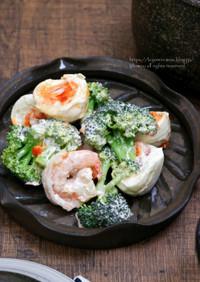 海老とたまごとブロッコリーのサラダ。
