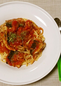 サンマと舞茸のトマトソースパスタ