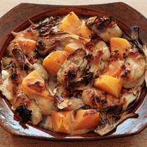 牡蠣と柿の香味焼き