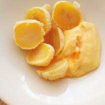 栗の天ぷらとマンゴークリーム