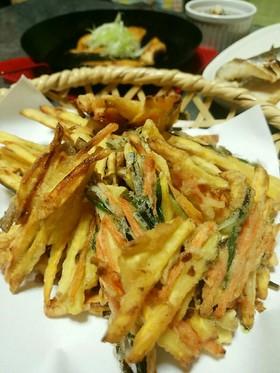 薩摩芋と人参とニラのかき揚げ。