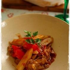 根菜と豚肉のトマト炒め