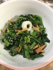 子どもも食べる菜の花胡麻和えの写真