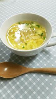 きのこと卵の中華風スープの写真