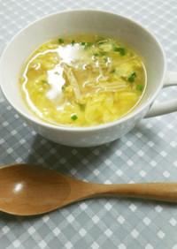 きのこと卵の中華風スープ