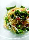 桜の香りの菜の花と白魚のスパゲッティ