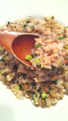 納豆とゴボウの炒飯