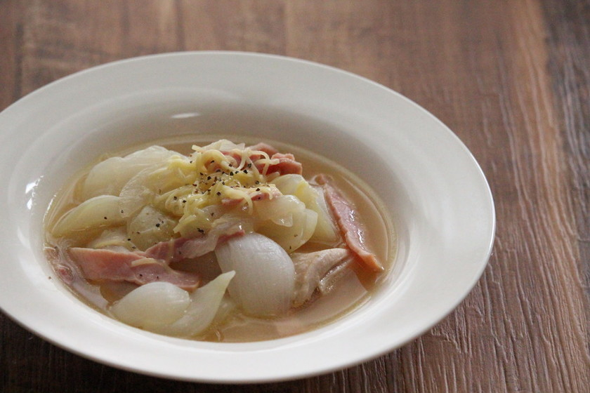 新玉ねぎのボリュームスープ煮