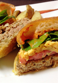 贅沢ハンバーガー簡単トマトクリームソース